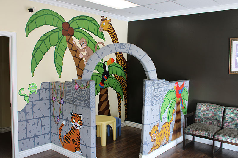 Waiting area and kids play space at Desert Family Eye Care and Reed Family Vision Center